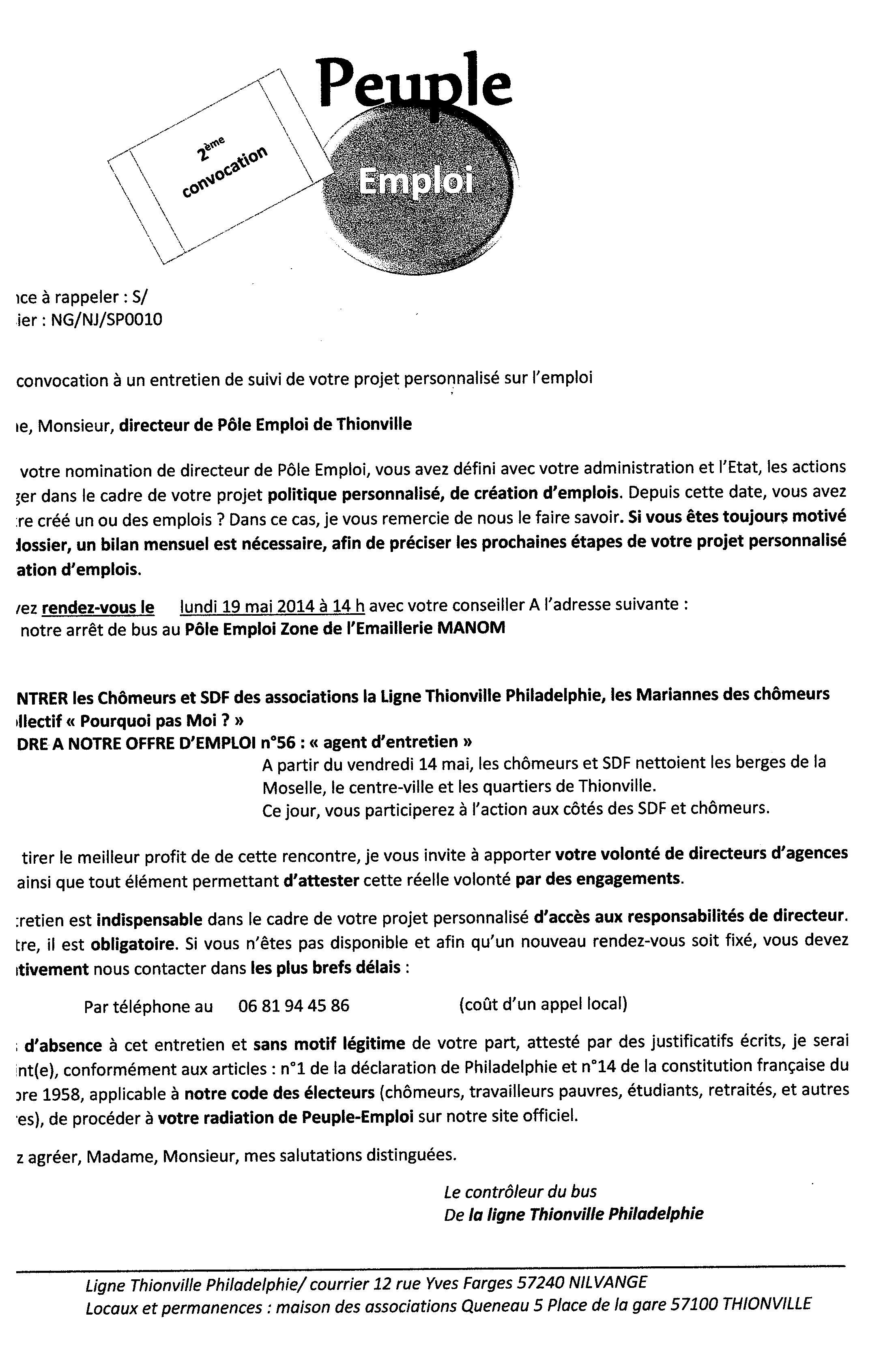 Convocation Directeur Pole Emploi Thionville